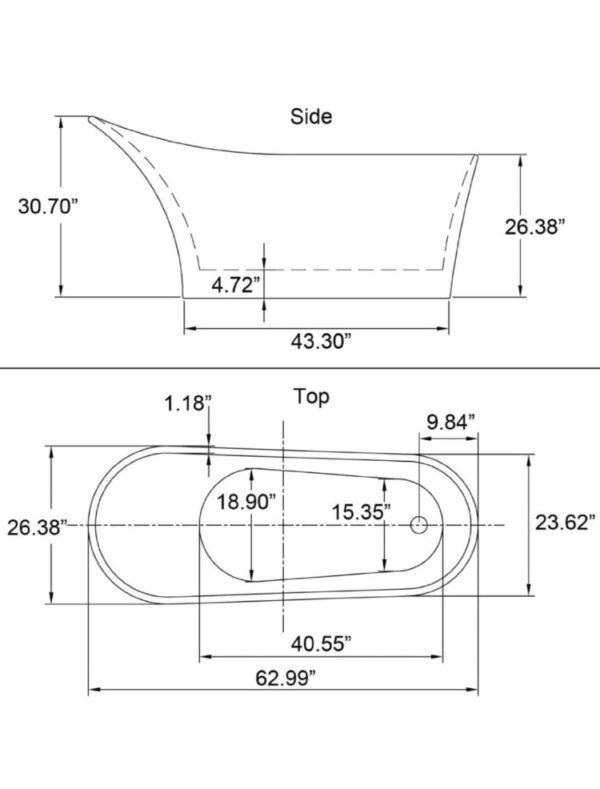 Petite Soaking Tub dimensions
