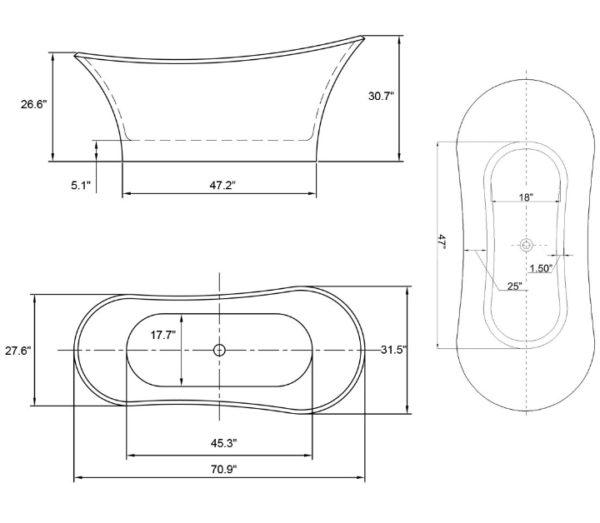 grande soaking bathtub dimensions